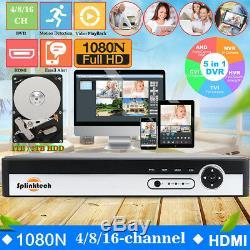 16/8/4CH CCTV DVR Digital Video Recorder 1080N AHD TVI HDMI BNC With 1TB 2TB HDD