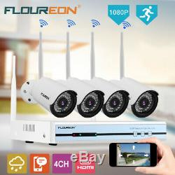 1TB HDD 4CH Wireless CCTV 1080P DVR Kit Outdoor Wifi IP Camera Security Recorder