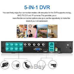 1TB Metal Shell CCTV Security 8CH 1080P AHD DVR Recorder 3000TVL Outdoor Camera
