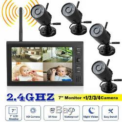 2X Digital Wireless CCTV Camera with 7'' LCD Monitor DVR Record Home Security