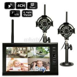 2x Digital Wireless CCTV Camera 7 LCD Monitor DVR Record Home Security System
