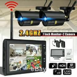 4X Digital Wireless CCTV Camera with 7'' LCD Monitor DVR Record Home Security