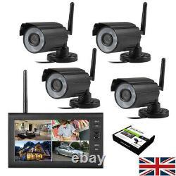 4 Digital Wireless CCTV Camera & 7''LCD Monitor DVR Record Home Security Monitor