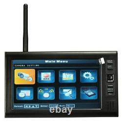 4-Digital Wireless CCTV Camera + 7'' LCD Monitor DVR Record Home Security System