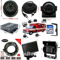 720P 4CH 1128G SD Car Vehicle DVR MDVR Video Recorder Kit CCTV Rear View Camera