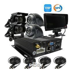 720P AHD 4CH SD 512G GPS Car MDVR DVR Record Rear View CCTV IR Camera 7 monitor