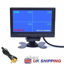7 Car Quad Split CCTV LCD Monitor Screen 4 Display Built-in DVR Video Recording