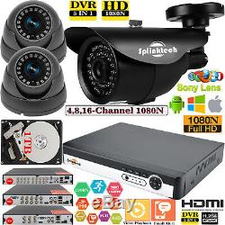 8/4/16CH CCTV DVR Digital Video Recorder Dome Bullet AHD Camera LED Security Kit
