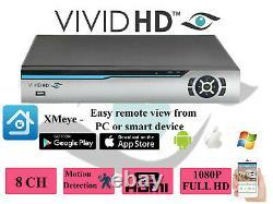8ch 1080p Dvr Cctv Video Recorder VIVID Hd Ahd Tvi Hdmi P2p Home Security