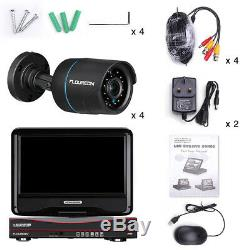 CCTV 4CH 1080N 10 Screen DVR Recorder 1080P 2MP Outdoor Security Camera System