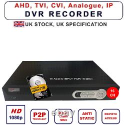 DVR 16 Channel 1080P 16 X Audio Input CCTV Video Recorder HARD DRVE VGA HDMI BNC