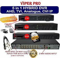 DVR 4 8 16 Channel CCTV RECORDER HD 1080P HDTVI AHD CVI Analogue IP Camera UK