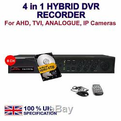 DVR 8 Channel CCTV RECORDER P2P HD 1080P HDMI for TVI AHD IP Camera UK spec