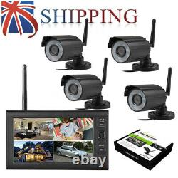 Digital 4 Wireless CCTV Camera with 7'' LCD Monitor DVR Record Home Security