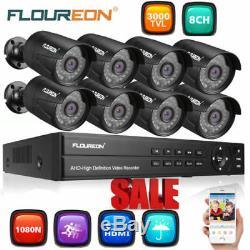 FLOUREON 8CH 1080P DVR 83000TVL CCTV Camera Home Security System Record 1TB HDD