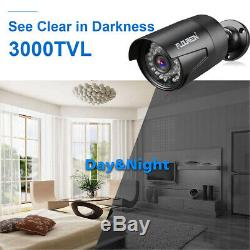 FLOUREON 8CH CCTV 1080P DVR Record 3000TVL Outdoor Security IP Camera System