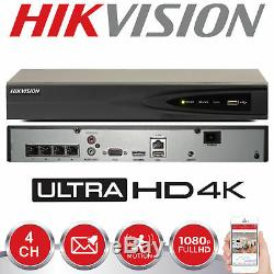 Hikvision 8mp 4k 4channel Nvr Ds-7604ni-k1/4p Hard Drive Ip Poe Cctv Recorder Uk