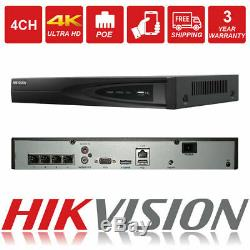 Hikvision 8mp Nvr Ip Poe 4k Cctv Security Recorder 4ch Channel Ds-7604ni-k1/4p