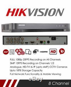 Hikvision DS-7208HQHI-K2/P 8 Channel TVI POC DVR & NVR Tribrid CCTV Recorder