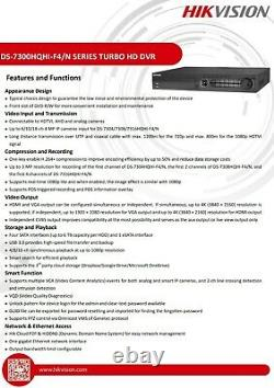 Hikvision DS-7316HQHI-F4/N 16 Channel 4K Turbo HD CCTV DVR Recorder 4TB