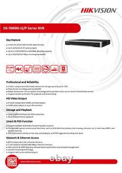 Hikvision DS-7616NI-I2-16P 16 Channel Network Video Recorder PoE CCTV ANPR 12MP