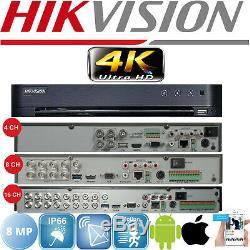 Hikvision Dvr 4/8/16 Ch Camera Video Recorder Hdmi 4k Turbo Hd 2.4mp 5mp 8mp Uk