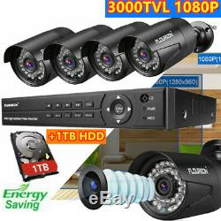 Metal 8CH 1080P 3000TVL Outdoor CCTV Kit with 1TB HDD DVR Recorder USB Security