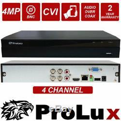 PROLUX CCTV DVR 4 Channel 2MP 3MP 4MP CVI 1080P Video Recorder REMOTE VIEW HDMI