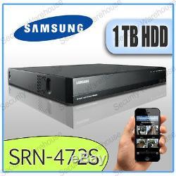 SAMSUNG SRN-472S 4CH IP Network DVR NVR PoE Switch 1TB CCTV HD Video Recorder