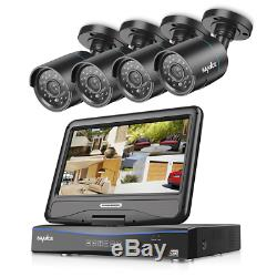 SANNCE 4CH 1080N Home Security DVR Recorder with 4 1.0MP Weatherproof CCTV Camera