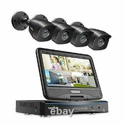 SANNCE 4CH HD Security DVR Recorder 1TB with 10.1inch LCD Monitor And 4 Cameras