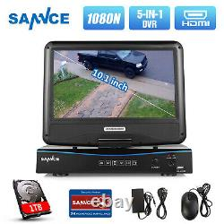 SANNCE 5IN1 1080N 10.1LCD Monitor DVR Video Recorder for Home Security Kit 1TB