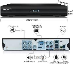 SANSCO 4 Channel 1080P Standalone CCTV DVR Recorder with 1TB Hard Drive Disk