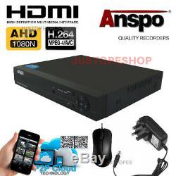 Smart CCTV DVR 4/8/16 Channel AHD 1080N Video Recorder HD 720P VGA HDMI BNC UK