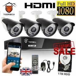 TigerSecu 1TB Full HD 1080P 8 CH Channel DVR CCTV Recorder+4x HD Cameras System