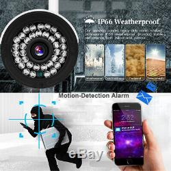 Wireless CCTV 4CH 1080N DVR NVR Record 720P Home Outdoor Security Wifi IP Camera
