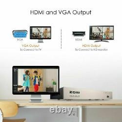 ZOSI CCTV DVR Recorder 8 Channel with 1TB HDD 1080P TVI AHD H. 265+ HDMI VGA BNC