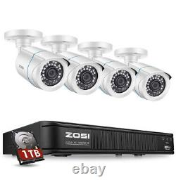 ZOSI H. 265+1080p Home Security Camera System, 5MP-Lite 8 Channel DVR Recorder 1TB