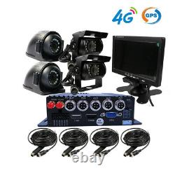1080p Ahd 4ch Gps 4g 512go Voiture Dvr Mdvr Video Record Cctv Camera Remote Monitor