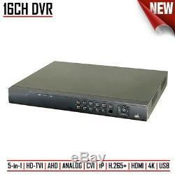 16ch Dvr Enregistreur Vidéo Numérique Cctv Hd-tvi / Ahd / Analog / CVI / Ip H. 265+ 4k Hdmi Usb