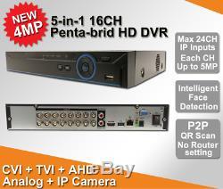 16ch Super Xvr Tous Hd 1080p 5-in-1 Dvr Surveillance Cctv Enregistreur Vidéo Hdmi