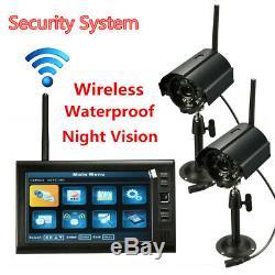 2 Numérique Sans Fil Caméra De Surveillance Et 7 ' ' Moniteur LCD Dvr Enregistrement Système De Sécurité
