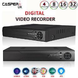 4/8/16/32 Ch Cctv Dvr 1080p Enregistreur Vidéo Numérique Casperi Ios / Android Mobileapp