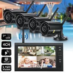 4 Appareil Photo Numérique Cctv Sans Fil + 7 ' ' Moniteur LCD Dvr Enregistrement Système De Sécurité
