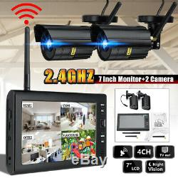 4 Numérique Sans Fil Caméra De Surveillance Et 7 ' ' Moniteur LCD Dvr Enregistrement Système De Sécurité
