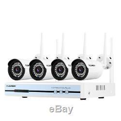 4ch 1080p Cctv Kit De Système Enregistreur Nvr Caméra De Sécurité Domestique Sans Fil Wifi Ip