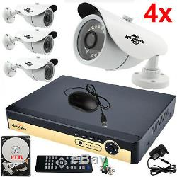 4ch Cctv Dvr 1080p Hd Hdmi 4x 2.4mp Ahd Bullet Camera Kit De Système Domestique Pour 1 To