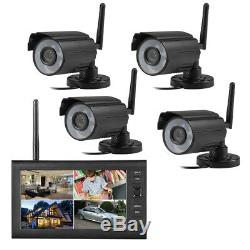 7 Système De Sécurité Caméra Cctv Dvr Vidéo 4 Extérieur Enregistreur Moniteur LCD