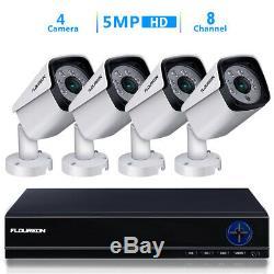 8 Ch 5 Dans 1 5mp Ahd Recorder Dvr + 4 X 5 Mp Bullet Caméras Cctv Kit Système De Sécurité