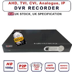 8 Channel Cctv Security Dvr 5in1 1080p 8 Enregistreur Audio Vidéo H. 264 Viper Pro Uk